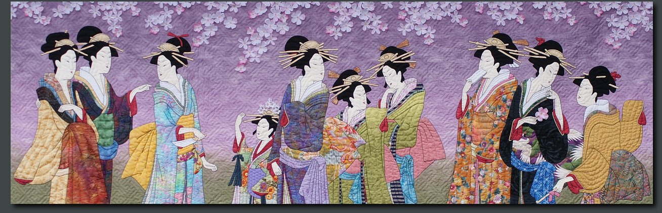 Sakura I: Hanaogi Views the Cherrry Blossoms - Japanese inspired quilts, quilt made by hand.